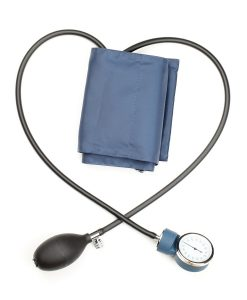 Hypertension treatment, nurse taking blood pressure