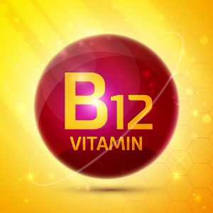 Red pill wirth Vitamin B12 text with yellow background Vista CA